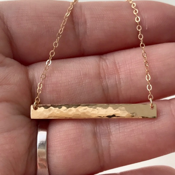Jewelry - 14K Gold-Filled Hammered Blank Bar Necklace